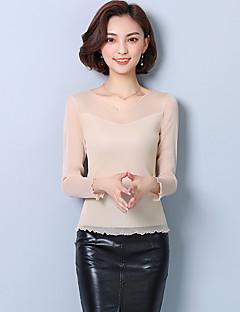 billige Overdele til damer-Dame - Ensfarvet Basale T-shirt