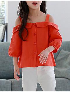 billige Pigetoppe-Børn Pige Simple Ensfarvet 3/4-ærmer Skjorte