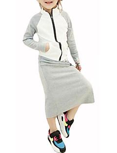 billige Tøjsæt til piger-Pige Tøjsæt Daglig Sport Ensfarvet Bogstaver, Polyester Forår Efterår Langærmet Afslappet Hvid