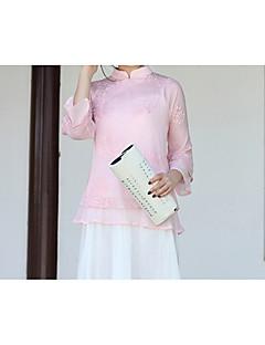 billige Bluse-Høj krave Dame - Ensfarvet Kineseri Bluse