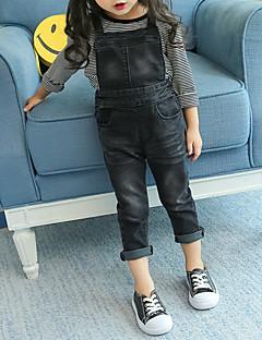 billige Bukser og leggings til piger-Pige Overall og jumpsuit Ensfarvet, Bomuld Spandex Forår Efterår Aktiv Sort
