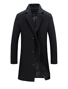 cheap England Retro Style-Men's Work Fall / Winter Plus Size Long Trench Coat, Solid Colored Fantastic Beasts Turndown Long Sleeve Cotton / Polyester Army Green / Khaki / Royal Blue XXXL / 4XL / XXXXXL
