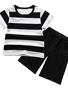 tanie Odzież dla chłopców-Dla dziewczynek Dla chłopców Codzienny Sport Prążki Komplet odzieży, Bawełna Poliester Lato Krótki rękaw Podstawowy Black
