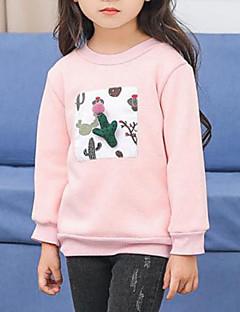 billige Hættetrøjer og sweatshirts til piger-Pige Bluse Patchwork, Rayon Forår Efterår Langærmet Tegneserie Lyserød Lysegrøn