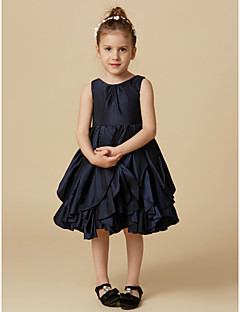 cheap Pageant Dresses-A-Line Knee Length Flower Girl Dress - Taffeta Sleeveless Jewel Neck with Buttons by LAN TING BRIDE®