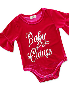 billige Babytøj-Baby Pige Trykt mønster Halvlange ærmer En del