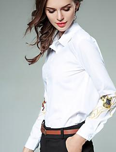 billige Skjorte-Dame - Ensfarvet Broderi Forretning Gade Skjorte