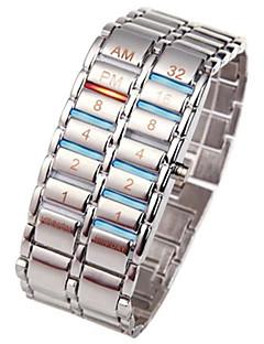 billige Rustfrit stål-Herre Digital Watch Kinesisk Kronograf / Kreativ / Nyt Design Rustfrit stål Bånd Luksus / Armring Sort / Sølv / SSUO LR626