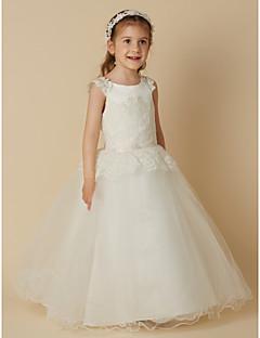 tanie Sukienki dla dziewczynek z kwiatami-Księżniczka Sięgająca podłoża Sukienka dla dziewczynki z kwiatami - Koronka / Tiul Bez rękawów Zaokrąglony z Koronka przez LAN TING BRIDE®