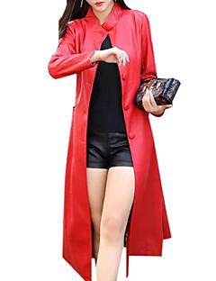 お買い得  レディースブレザー&ジャケット-女性用 プラスサイズ レザージャケット-ベーシック スタンド ルーズ ソリッド
