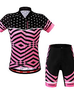 billige Sykkelklær-WOSAWE Dame Kortermet Sykkeljersey med shorts - Fuksia Sykkel Shorts / Jersey / Klessett, 3D Pute