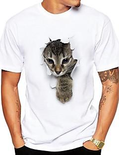billige Herremote og klær-T-skjorte Herre - Dyr, Trykt mønster Søtt Gatemote