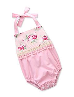 billige Babytøj-Baby Pige En del Daglig I-byen-tøj Blomstret Trykt mønster, Bomuld Polyester Sommer Uden ærmer Sødt Aktiv Lyserød