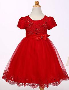 billige Babykjoler-Baby Pigens Kjole Fest I-byen-tøj Ensfarvet, Bomuld Polyester Sommer Kortærmet Sødt Hvid Rød Lyserød