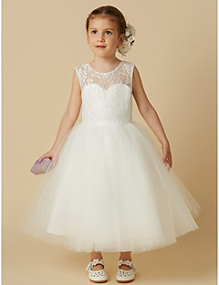 cheap Flower Girl Dresses-Princess Tea Length Flower Girl Dress - Lace Tulle Sleeveless Jewel Neck with Lace by LAN TING BRIDE®