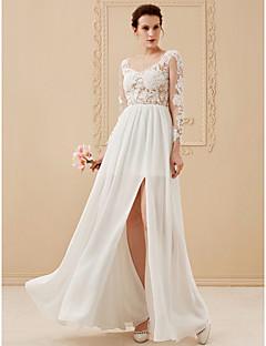 billiga Brudklänningar-A-linje / Prinsessa Scoop Neck Golvlång Chiffong / Spets / Tyll Bröllopsklänningar tillverkade med Bård / Applikationsbroderi av LAN TING