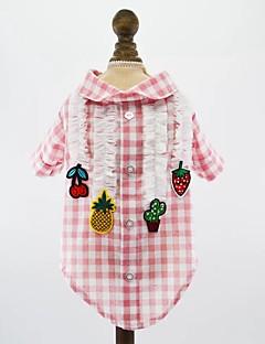 billiga Hundkläder-Hund Katt Husdjur T-shirt Hundkläder Pläd / Rutig Frukt Prinsessa Röd Blå Rosa Bomull / Polyester Kostym För husdjur Herr Stilig Prinsessa
