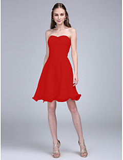 A Line Spaghetti Strap Knee Length Chiffon Bridesmaid Dress With Ruched By Lan Ting Bride
