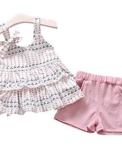 billige Sett med babyklær-Baby Pige Prikker Trykt mønster Tunika Uden ærmer Tøjsæt