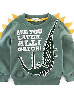 billige Hættetrøjer og sweatshirts til drenge-Drenge Daglig Geometrisk Hættetrøje og sweatshirt, Polyester Forår Langærmet Basale Blå Grøn Grå