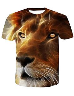 ieftine Maieu & Tricouri Bărbați-Bărbați Rotund Tricou Activ - Animal Imprimeu Leu / Manșon scurt