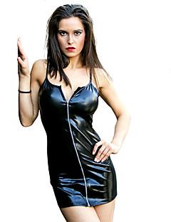 billige Zentai-Kjoler Cosplay Kostumer Zentai Cosplay-kostymer Gull / Svart / Fuksia Ensfarget Kjole Patentert Lær Jul Halloween Karneval