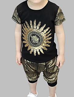 billige Tøjsæt til drenge-Drenge Daglig I-byen-tøj Trykt mønster Tøjsæt, Polyester Forår Sommer Kortærmet Aktiv Guld