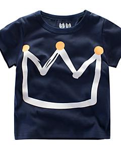 billige Pigetoppe-Unisex Daglig Geometrisk T-shirt, Bomuld Polyester Sommer Kortærmet Aktiv Grå Marineblå