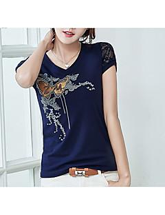 billige T-shirt-Dame - Ensfarvet Blonder Trykt mønster Basale T-shirt