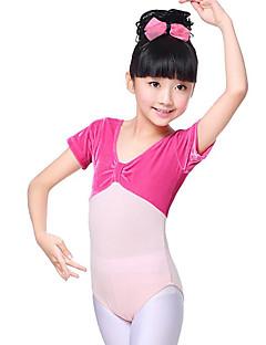 billige Ballettantrekk-Ballett Trikoter Jente Trening Ytelse Bomull Sateng Sløyfe Ruchiing Kortermet Naturlig Trikot / Heldraktskostymer