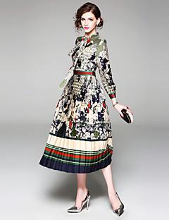 Χαμηλού Κόστους Μάρκες-Γυναικεία Αργίες Κομψό στυλ street Λεπτό Θήκη Φόρεμα - Φλοράλ, Στάμπα Μίντι Ζιβάγκο