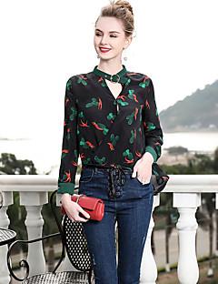 billige Dametopper-Silke Tynn V-hals Skjorte Dame - Blomstret, Trykt mønster Vintage
