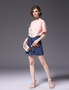 economico Completi due pezzi da donna-Per donna Attivo Cotone Taglia piccola Camicia - Collage, Monocolore Gonna
