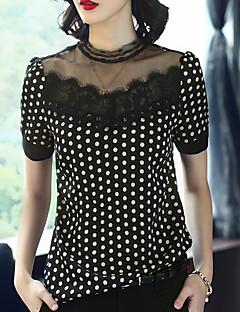 Χαμηλού Κόστους Lace up Tops-Γυναικεία Μπλούζα Αργίες Βίντατζ / Βασικό Πουά Όρθιος Γιακάς Δαντέλα