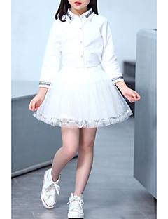 billige Tøjsæt til piger-Pige Tøjsæt Daglig I-byen-tøj Ensfarvet, Bomuld Polyester Forår Langærmet Sødt Afslappet Hvid