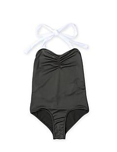 billige Badetøj til piger-Pige Vintage Sexet Ensfarvet Badetøj, Bomuld Akryl Uden ærmer Sort