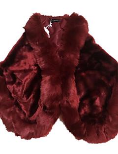 Χαμηλού Κόστους -Γυναικεία Γούνινο παλτό Μονόχρωμο Ψεύτικη Γούνα Τετράγωνη Λαιμόκοψη