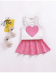 billige Tøjsæt til piger-Spædbarn Pige Trykt mønster Uden ærmer Bomuld Tøjsæt