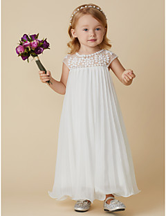 cheap Flower Girl Dresses-Sheath / Column Ankle Length Flower Girl Dress - Chiffon Short Sleeves Jewel Neck with Beading Draping by LAN TING BRIDE®