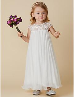tanie Ubiór ślubny dla dzieci-Ołówkowa / Kolumnowa Do kostki Sukienka dla dziewczynki z kwiatami - Szyfon Krótki rękaw Zaokrąglony z Koraliki / Fałdki przez LAN TING BRIDE®
