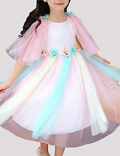 tanie Odzież dla dziewczynek-Sukienka Rayon Poliester Dziewczyny Impreza Codzienny Patchwork Lato Bez rękawów Urocza Blushing Pink