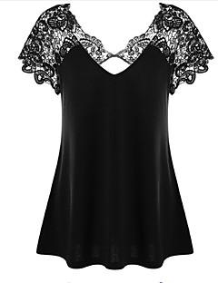 저렴한 플러스 사이즈 컬렉션-여성용 솔리드 V 넥 슬림 플러스 사이즈 레이스 - 티셔츠, 베이직 면 / 섹시