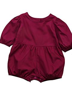 billige Babytøj-Baby Pige En del Daglig Ferie Ensfarvet, Bomuld Forår Sommer Kort Ærme Sødt Aktiv Lilla Gul