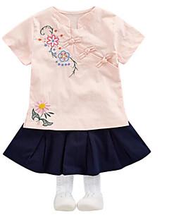 billige Sett med babyklær-Baby Pige Ensfarvet Blomstret Kortærmet Tøjsæt