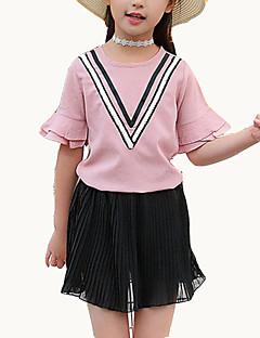 tanie Odzież dla dziewczynek-Dla dziewczynek Urlop Wielokolorowa Komplet odzieży, Poliester Lato Krótki rękaw Moda miejska White Jasnoniebieski