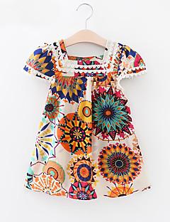 tanie Odzież dla dziewczynek-Sukienka Bawełna Dziewczyny Codzienny Urlop Kwiaty Wiosna Lato Krótki rękaw Vintage Aktywny White