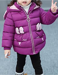 billige Jakker og frakker til piger-Pige dun- og bomuldsforet Daglig I-byen-tøj Farveblok Broderi 3D-tegneseriefigur, Polyester Langærmet Sødt Afslappet Tegneserie Lyserød