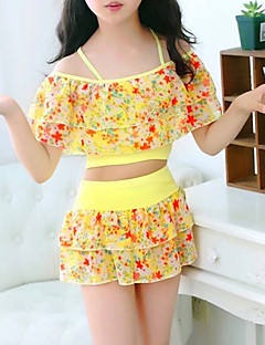 cheap Girls' Clothing-Girls' Floral Swimwear, Others Blue Yellow