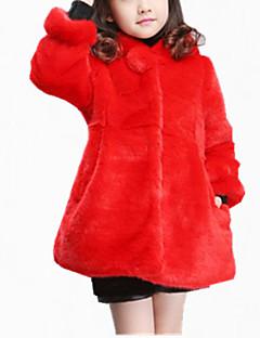 billige Jakker og frakker til piger-Pige Jakke og frakke Daglig Ensfarvet, Bomuld Polyester Vinter Efterår Langærmet Pænt tøj Beige Rosa Rød