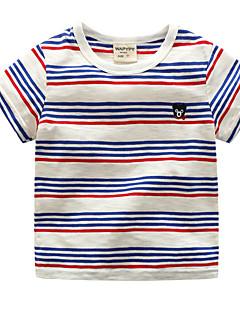billige Pigetoppe-Unisex Daglig Ferie Stribet T-shirt, Bomuld Polyester Sommer Kortærmet Aktiv Blå Sort